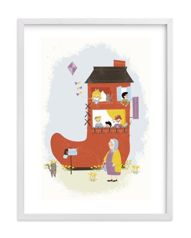 """""""The Old Woman in the Shoe"""" - Children's Custom Art Print by Melissa Egan of Pistols in beautiful frame options and a variety of sizes."""