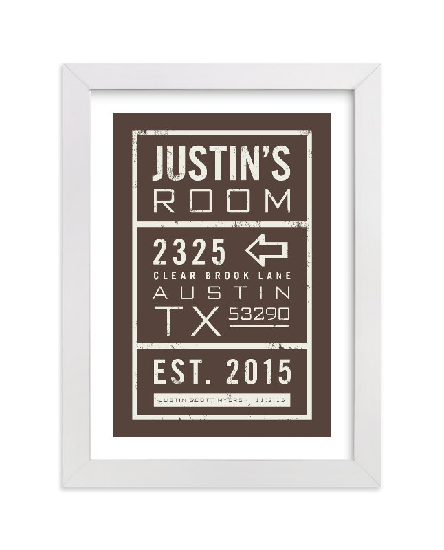 This is a brown personalized art for kid by trbdesign called My Place with standard.