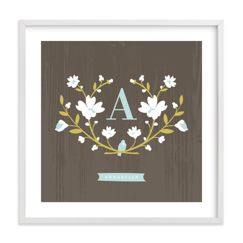 """""""Woodland Initial"""" - Children's Custom Art Print by Kristie Kern in beautiful frame options and a variety of sizes."""
