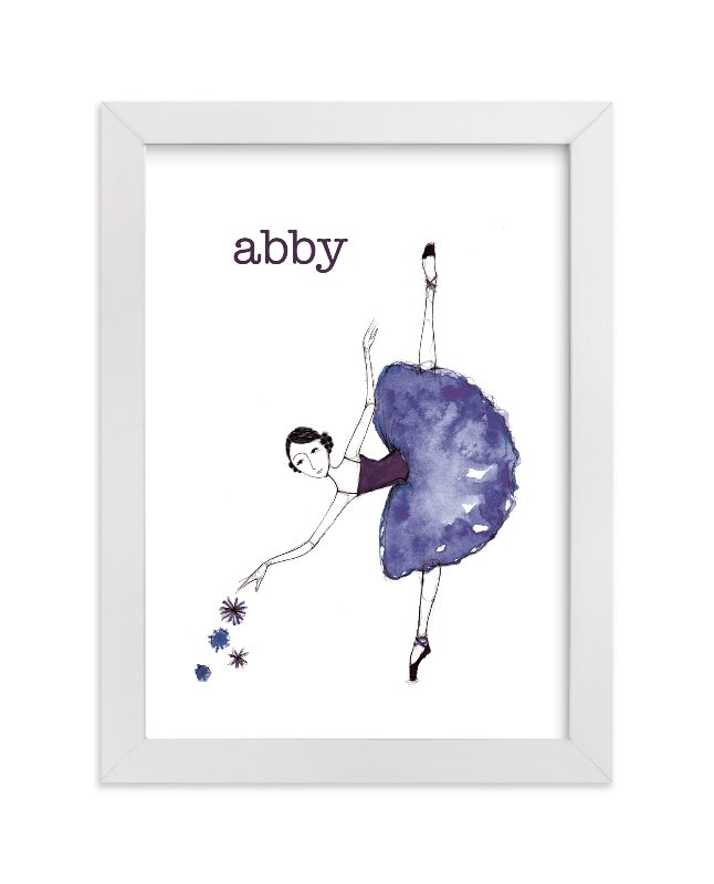This is a purple personalized art for kid by Sharon McKeeman called Green Ballerina with standard.