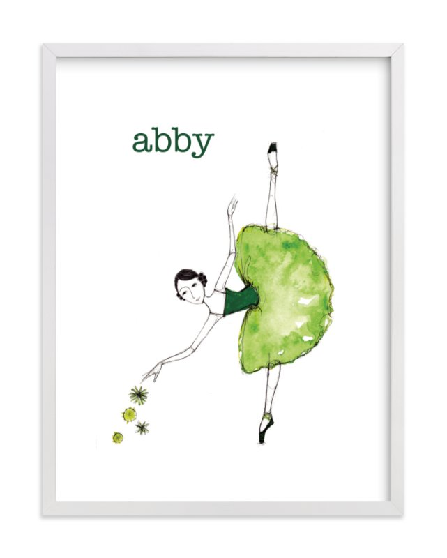 """Green Ballerina"" - Children's Custom Art Print by Sharon McKeeman in beautiful frame options and a variety of sizes."
