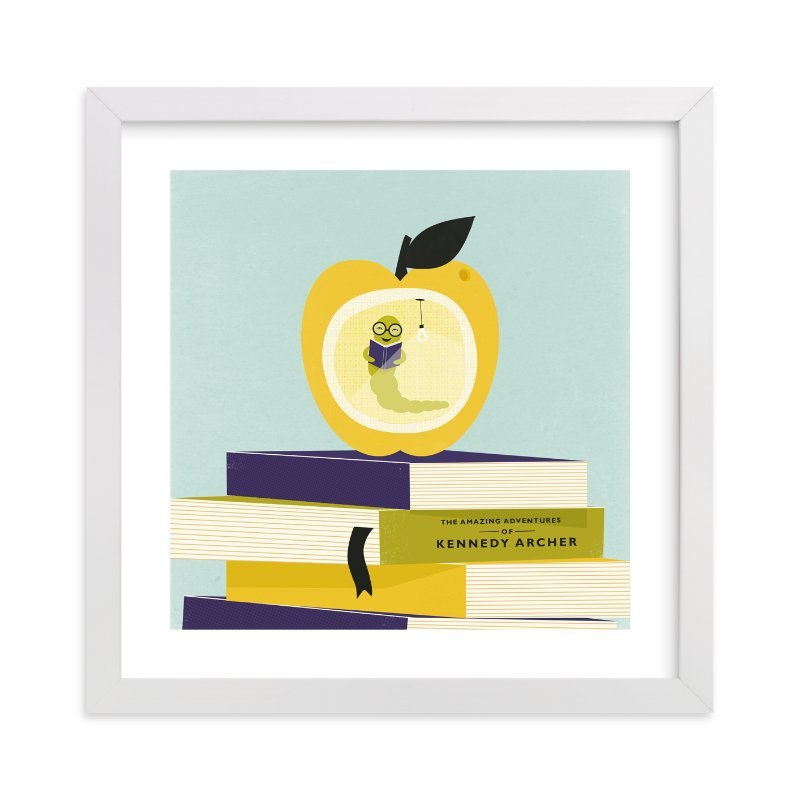 This is a yellow personalized art for kid by Angela Marzuki called Be a Bookworm with standard.