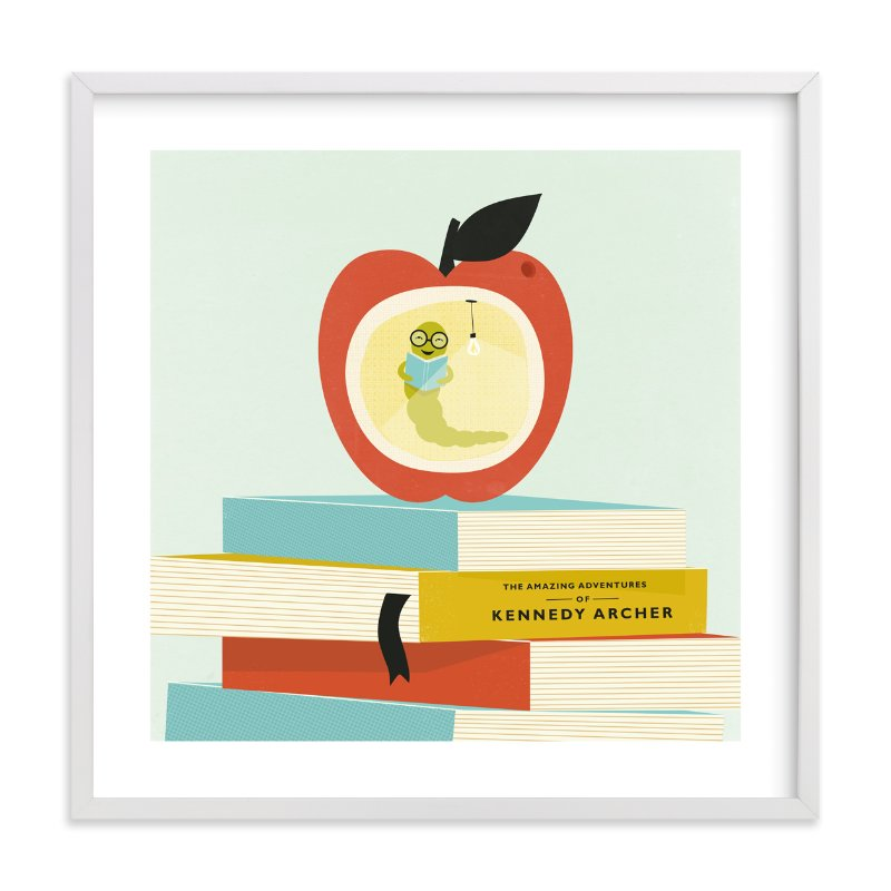 """""""Be a Bookworm"""" - Children's Custom Art Print by Angela Marzuki in beautiful frame options and a variety of sizes."""