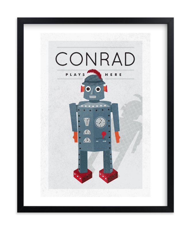 """Feathered Robot"" - Children's Custom Art Print by Yolanda Mariak Chendak in beautiful frame options and a variety of sizes."