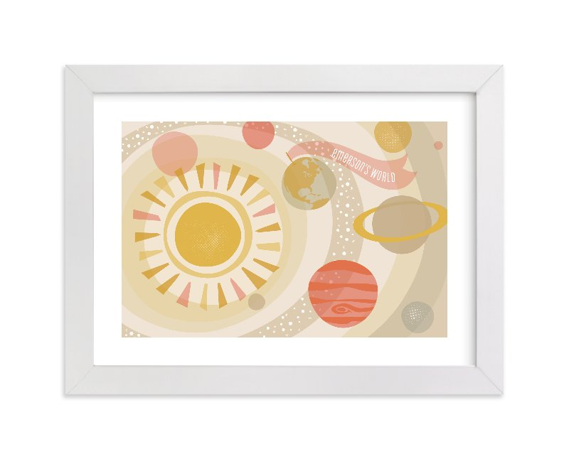 This is a beige personalized art for kid by Melanie Severin called Galactica with standard.