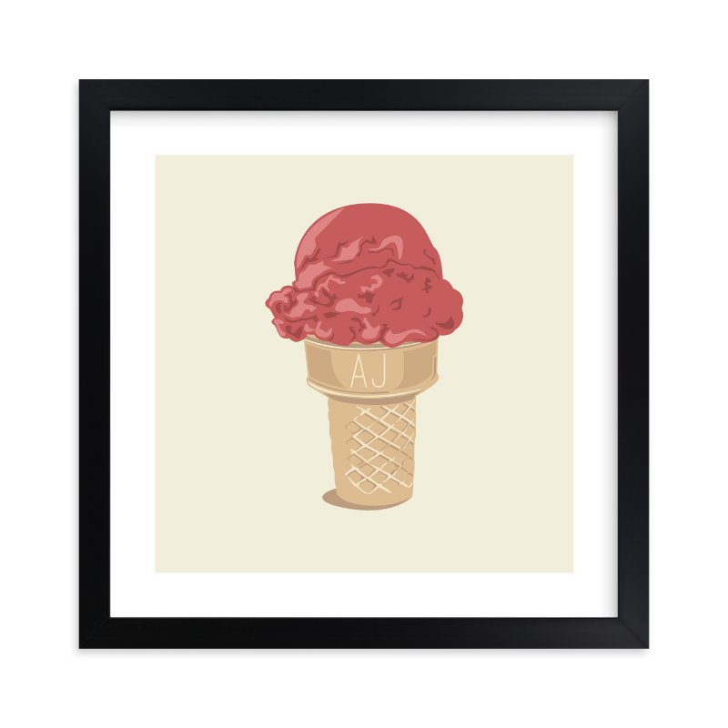 """""""Ice Cream Monogram"""" - Children's Custom Art Print by bumble ink in beautiful frame options and a variety of sizes."""