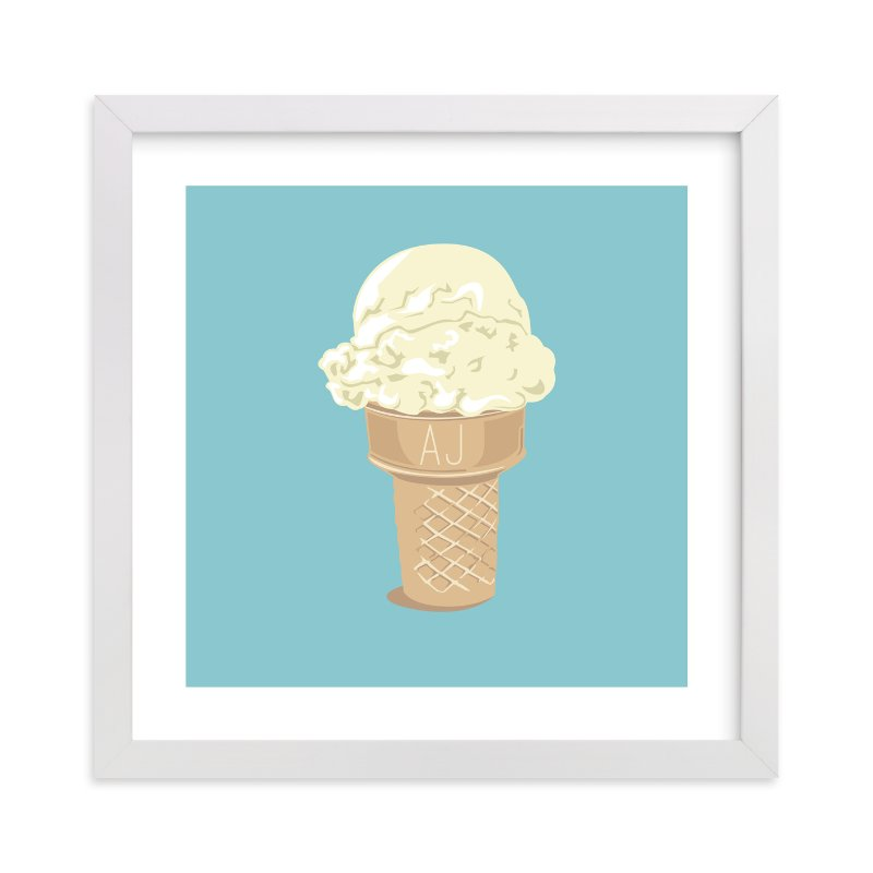 This is a yellow personalized art for kid by bumble ink called Ice Cream Monogram with standard.