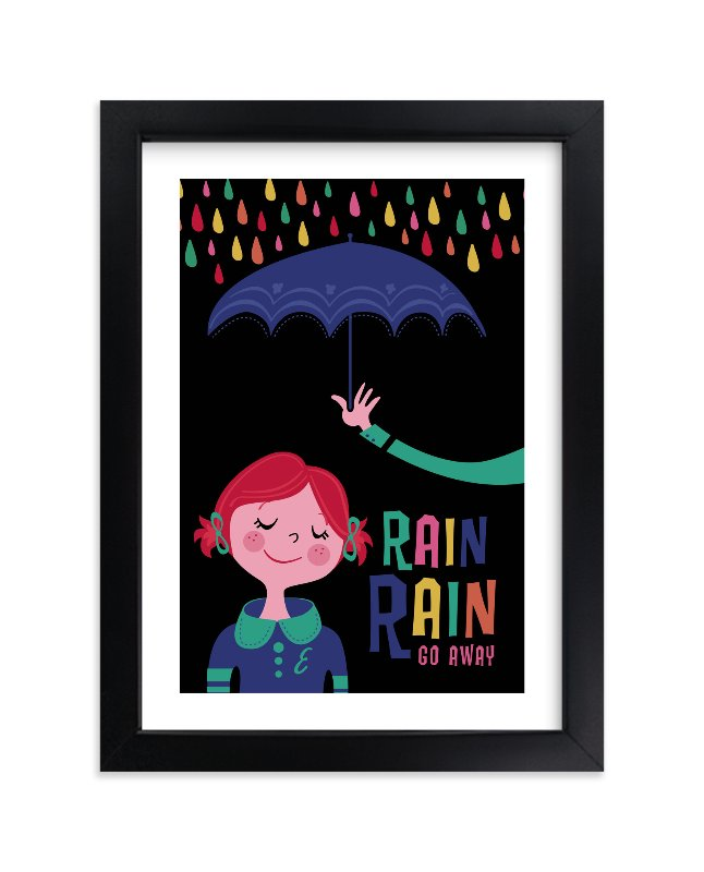 """Rainy Day"" - Children's Custom Art Print by Melissa Egan of Pistols in beautiful frame options and a variety of sizes."