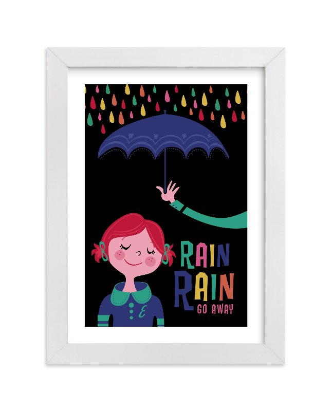 This is a black personalized art for kid by Melissa Egan of Pistols called Rainy Day with standard.