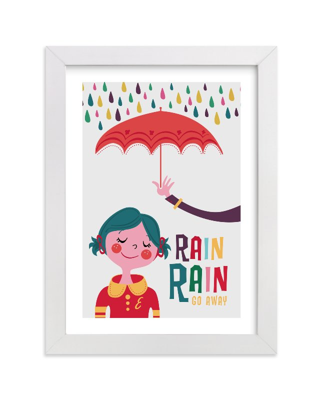 This is a white personalized art for kid by Melissa Egan of Pistols called Rainy Day with standard.