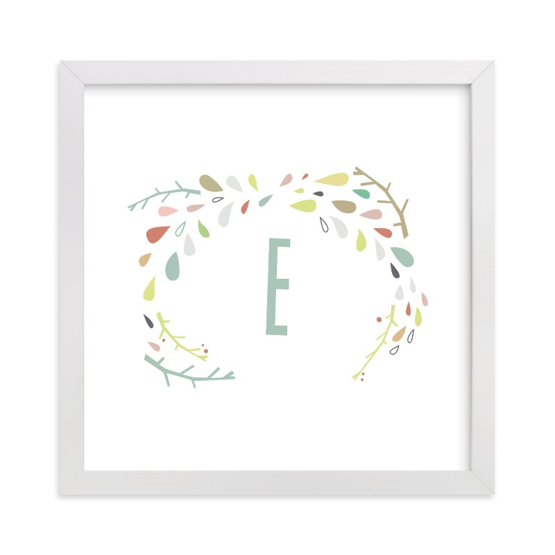 This is a green personalized art for kid by Lori Wemple called Craggy Wreath with standard.