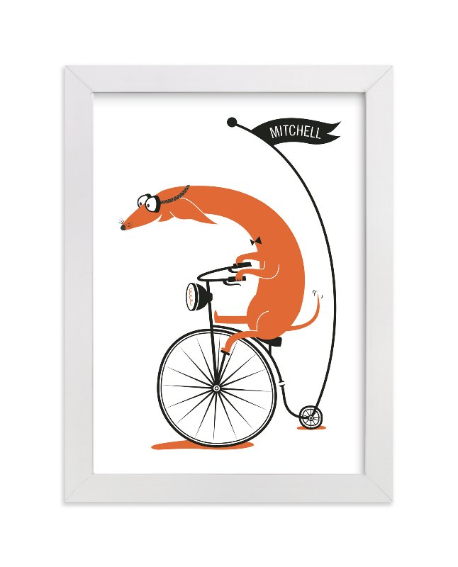 This is a orange personalized art for kid by Kayla King called Cycling Sausage with standard.
