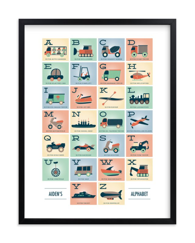 """""""Alphabet in Motion"""" - Children's Custom Art Print by Erica Krystek in beautiful frame options and a variety of sizes."""