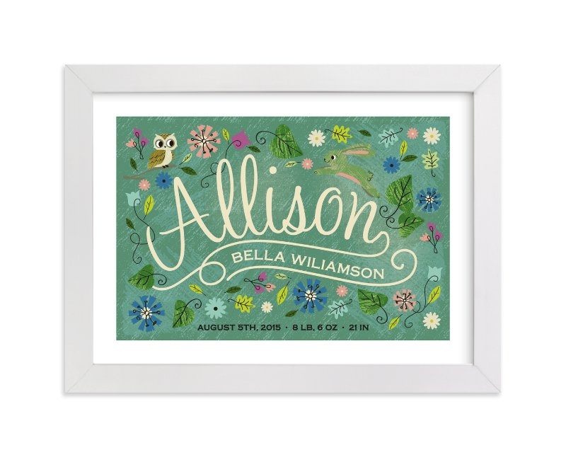 This is a green personalized art for kid by Tara Lilly Studio called Storybook Forest with standard.