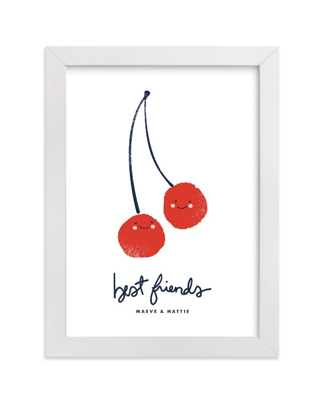 This is a red personalized art for kid by Oscar & Emma called Best Friends with standard.