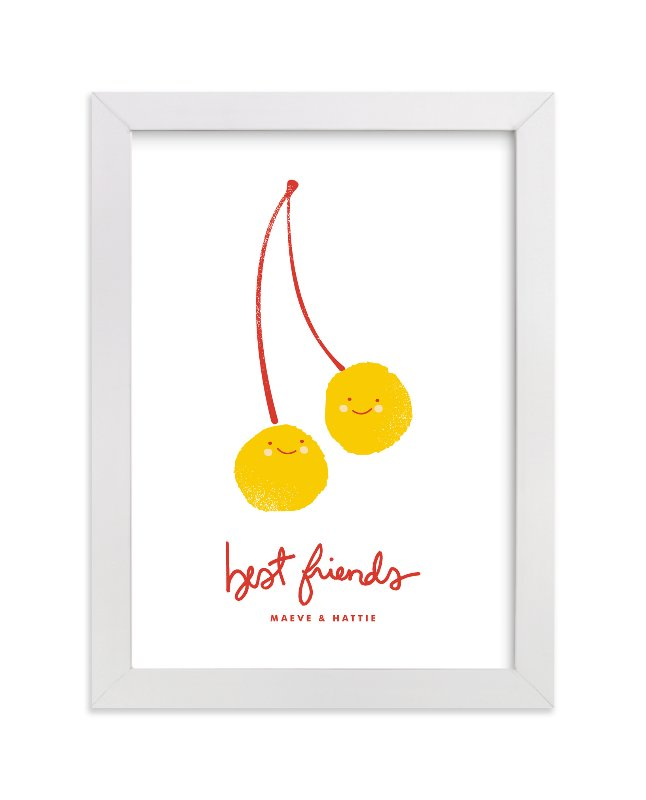 This is a yellow personalized art for kid by Oscar & Emma called Best Friends with standard.