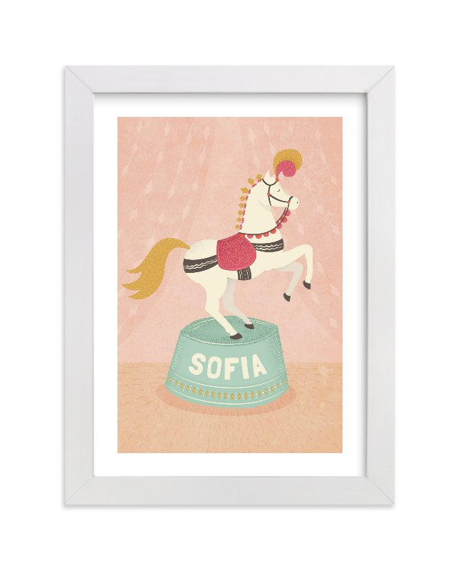 This is a pink personalized art for kid by Jody Wody called Circus Pony with standard.