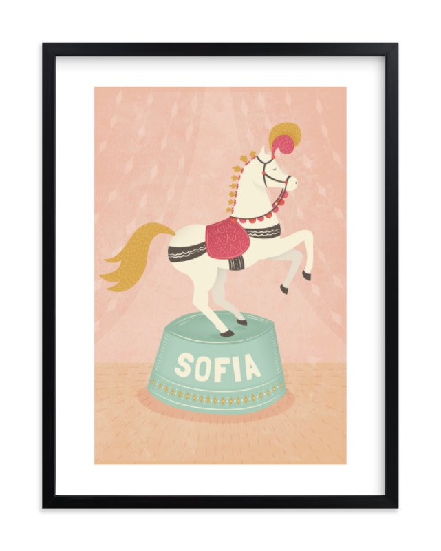 """Circus Pony"" - Children's Custom Art Print by Jody Wody in beautiful frame options and a variety of sizes."