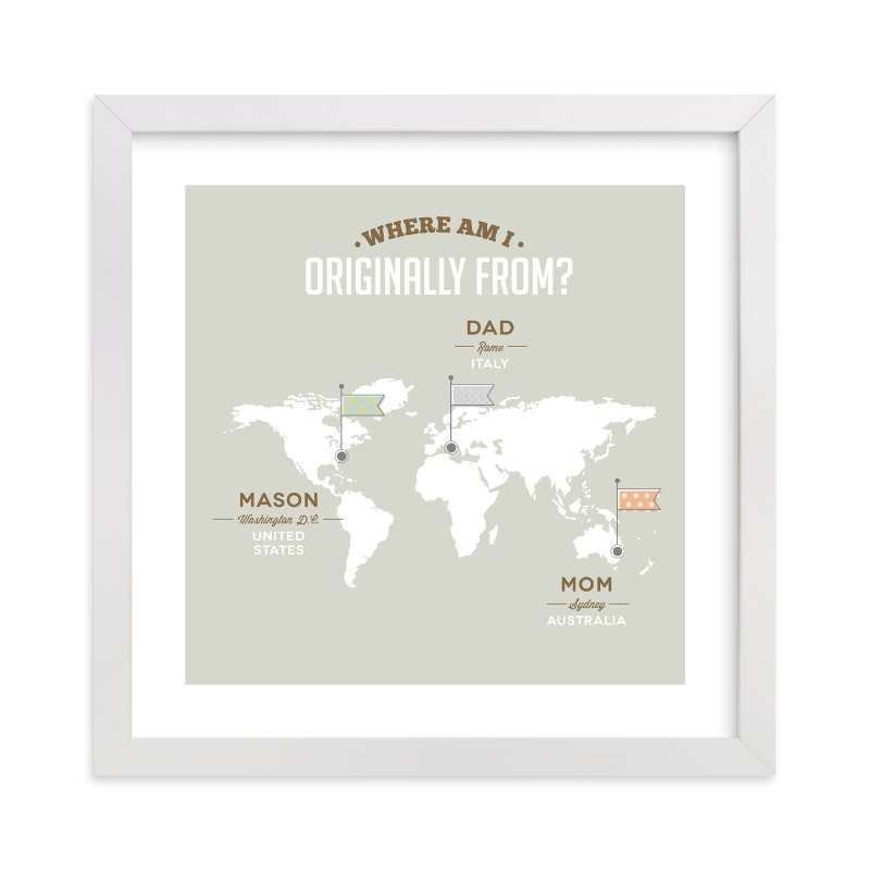 This is a grey personalized art for kid by Yooli Lee called Where Am I From? with standard.