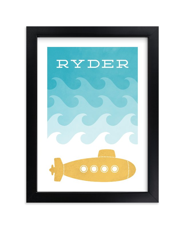 """""""Submarine"""" - Children's Custom Art Print by Hooray Creative in beautiful frame options and a variety of sizes."""