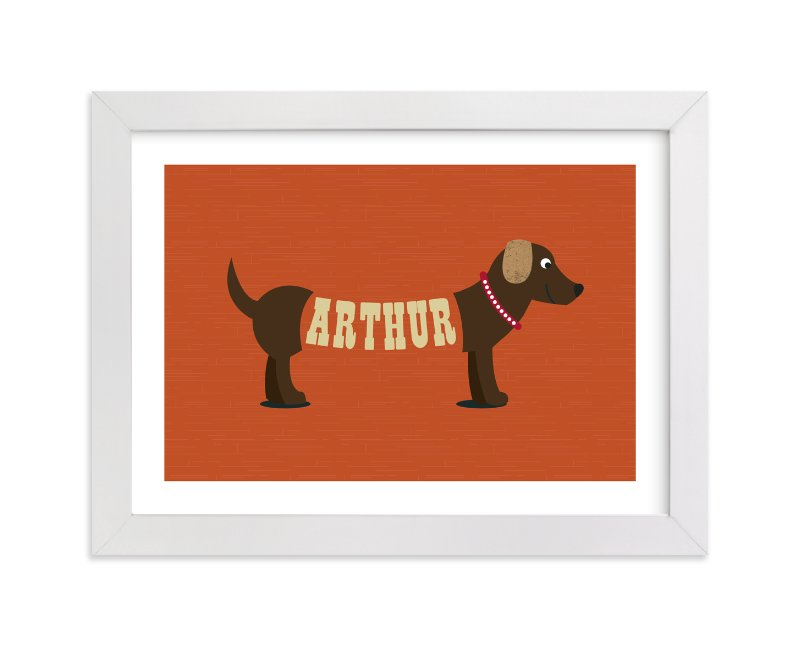 This is a orange personalized art for kid by Leah Shannon called Hot Diggity Dog with standard.