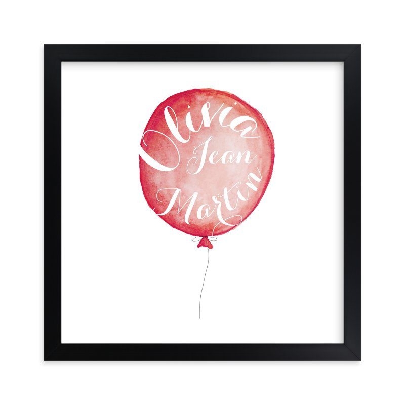 """""""Calligraphy Balloon"""" - Children's Custom Art Print by Petal and Print in beautiful frame options and a variety of sizes."""