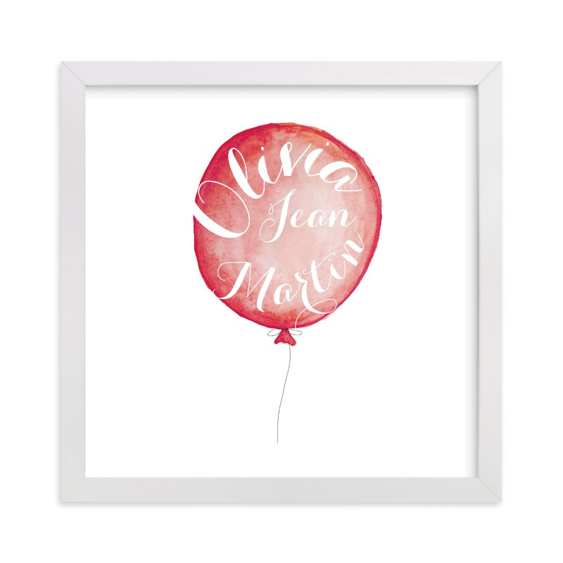 This is a pink personalized art for kid by Petal and Print called Calligraphy Balloon with standard.