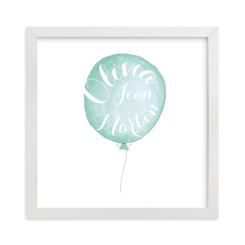 This is a blue personalized art for kid by Petal and Print called Calligraphy Balloon with standard.