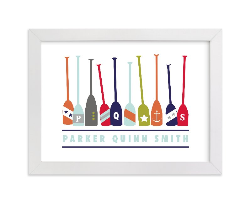 This is a blue personalized art for kid by Petal and Print called Monogrammed Oars with standard.