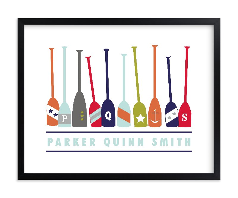 """""""Monogrammed Oars"""" - Children's Custom Art Print by Petal and Print in beautiful frame options and a variety of sizes."""