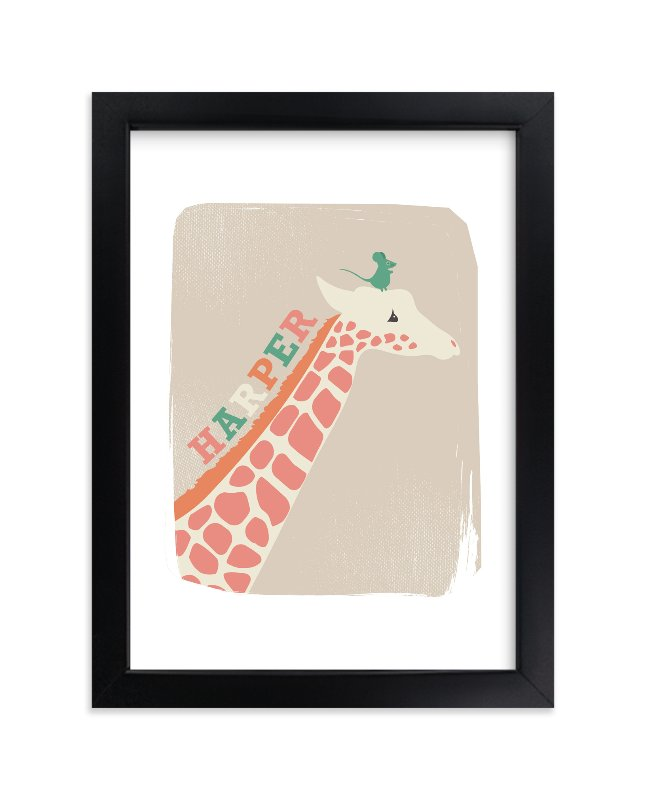 """Giraffe and Mouse"" - Children's Custom Art Print by kadie foppiano in beautiful frame options and a variety of sizes."
