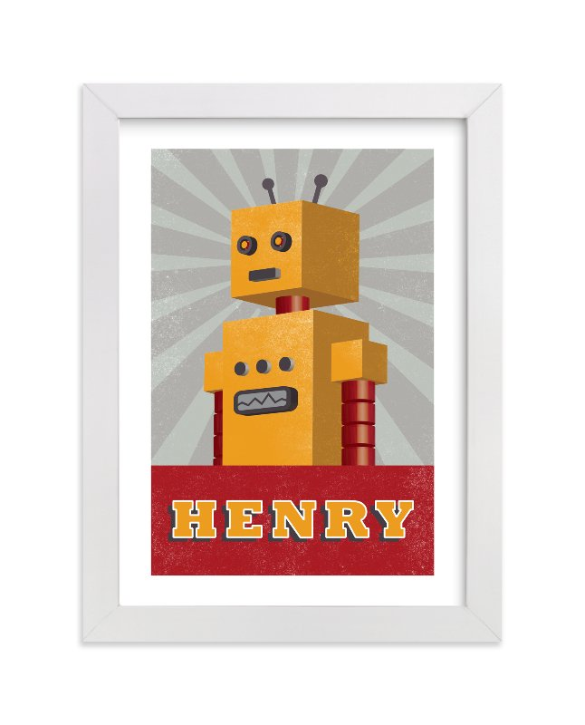 This is a yellow personalized art for kid by Olivia Raufman called Vintage Bot with standard.