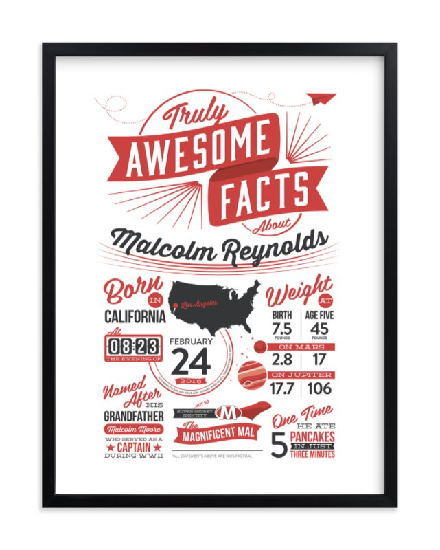 """""""Truly Awesome Facts"""" - Children's Custom Art Print by GeekInk Design in beautiful frame options and a variety of sizes."""