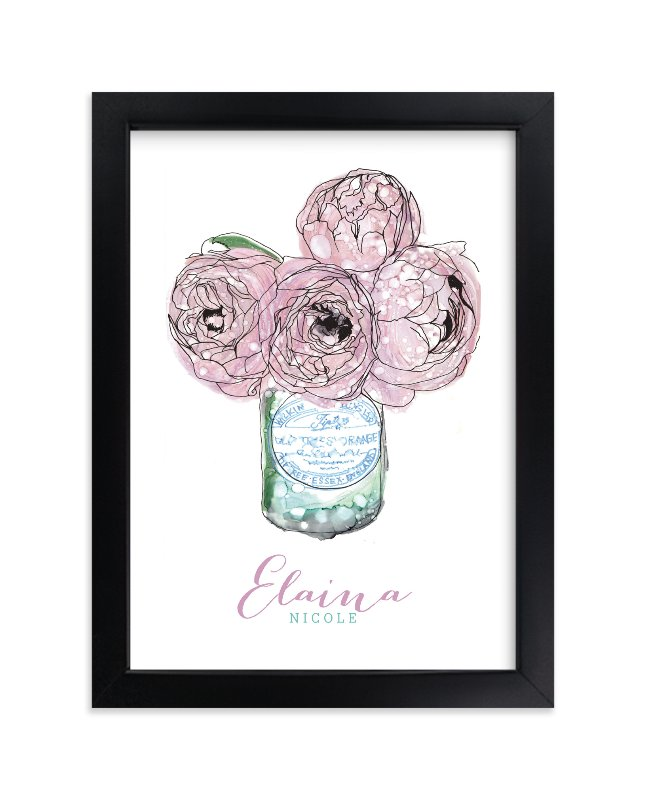 """Pretty Peonies"" - Children's Custom Art Print by Penelope Poppy in beautiful frame options and a variety of sizes."