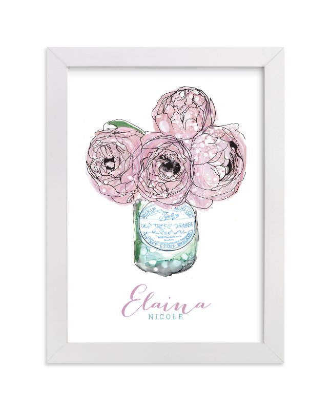 This is a purple personalized art for kid by Penelope Poppy called Pretty Peonies with standard.