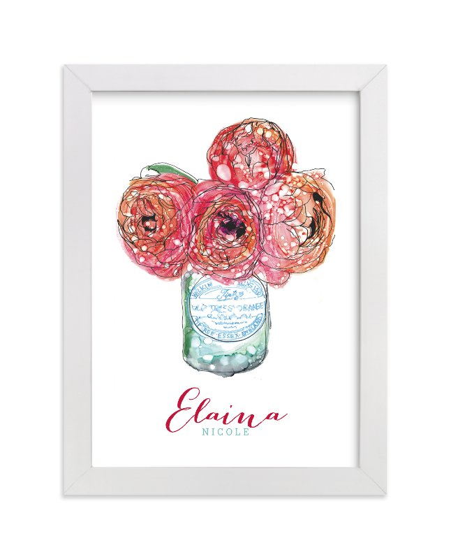 This is a red personalized art for kid by Penelope Poppy called Pretty Peonies with standard.
