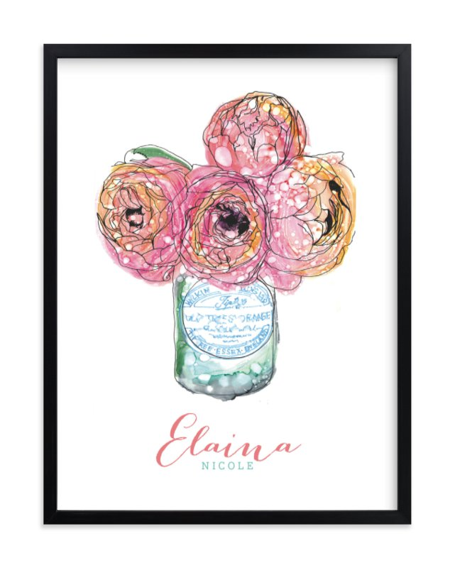 """""""Pretty Peonies"""" - Children's Custom Art Print by Penelope Poppy in beautiful frame options and a variety of sizes."""