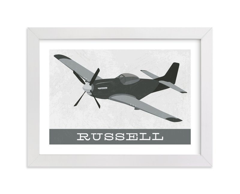 This is a grey personalized art for kid by Danie Romrell called P51 Mustang with standard.