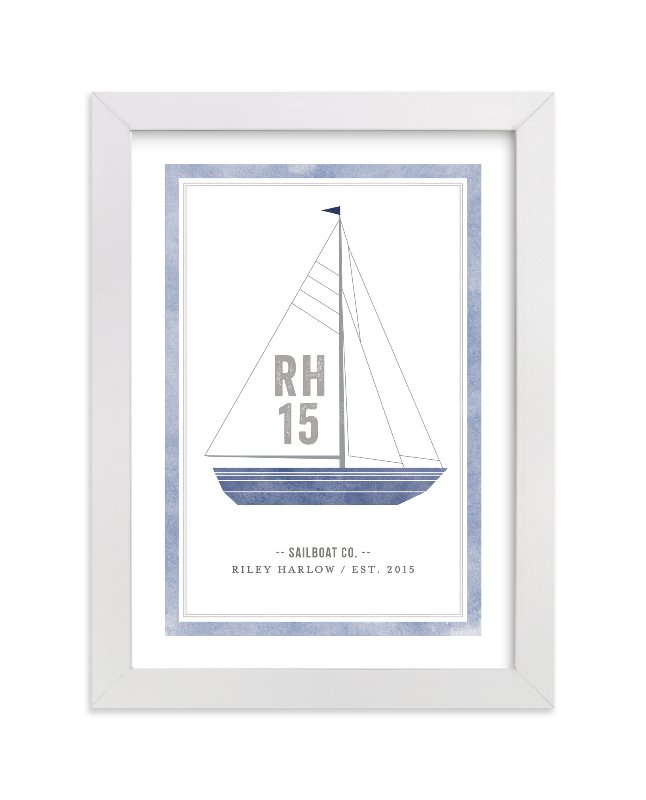 This is a blue personalized art for kid by cambria called Sailboat co. with standard.