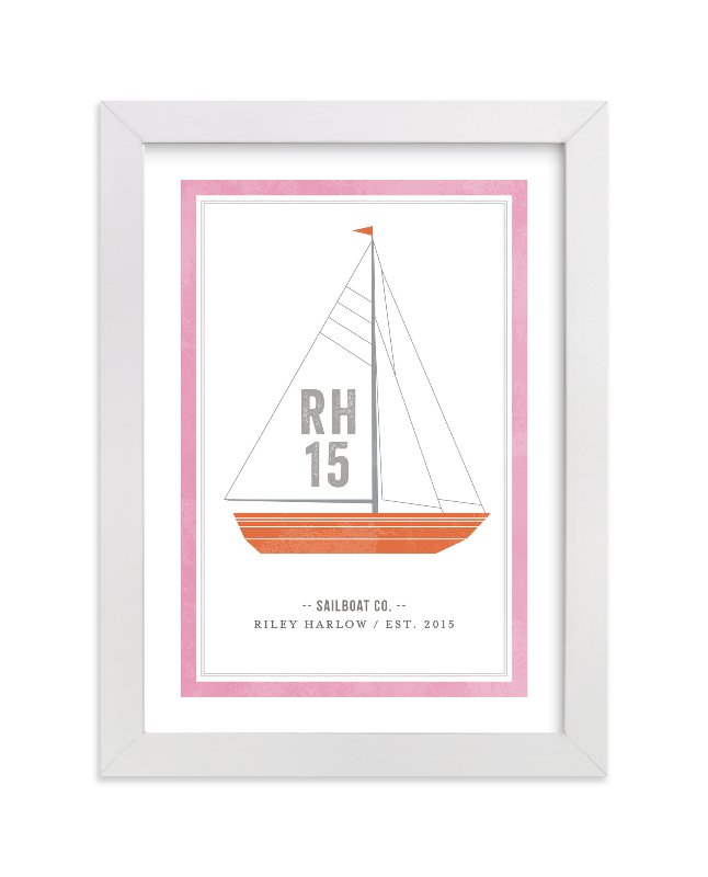 This is a orange personalized art for kid by cambria called Sailboat co. with standard.