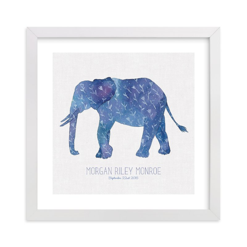 This is a blue personalized art for kid by Melissa Kelman called Little Painted Elephant with standard.