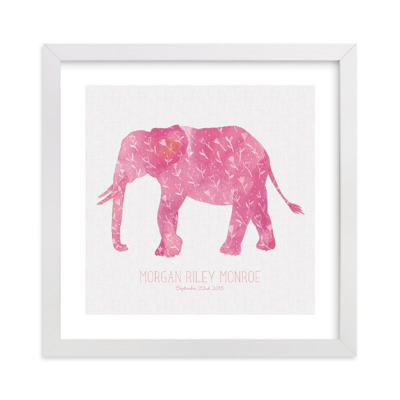 This is a pink personalized art for kid by Melissa Kelman called Little Painted Elephant with standard.
