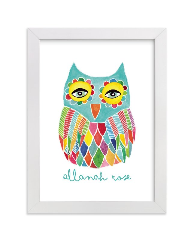 This is a blue personalized art for kid by Pip Gerard called Watercolor Rainbow Owl with standard.