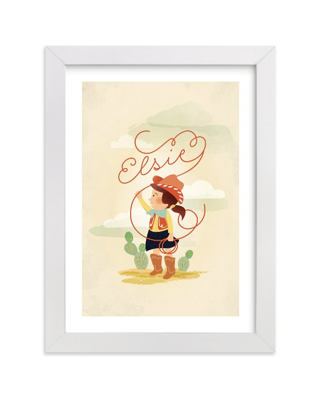 This is a orange personalized art for kid by Olivia Kanaley Inman called Don't Fence Me In with standard.