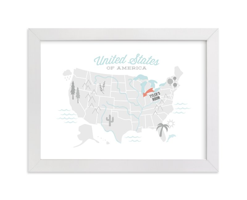 This is a grey personalized art for kid by Jessie Steury called You Are Here American Map with standard.