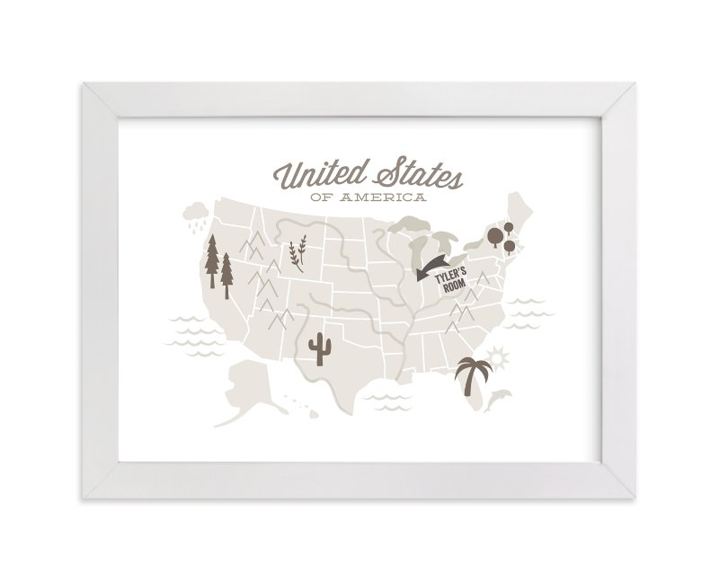This is a brown personalized art for kid by Jessie Steury called You Are Here American Map with standard.