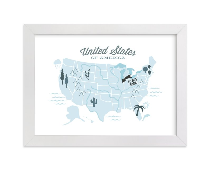 This is a blue personalized art for kid by Jessie Steury called You Are Here American Map with standard.
