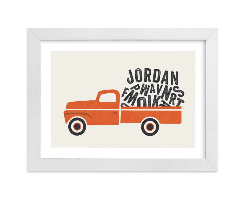 This is a orange personalized art for kid by Karidy Walker called Heavy Load with standard.