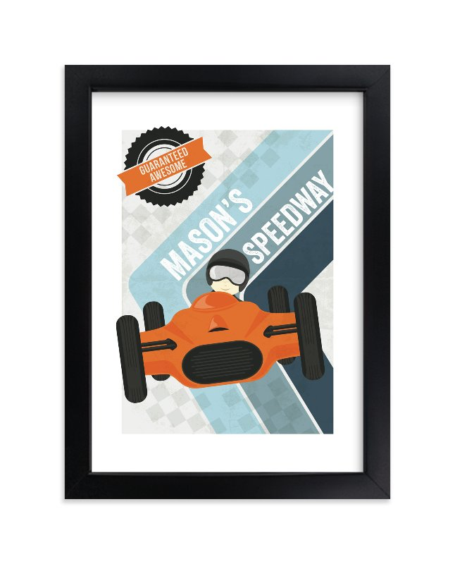 """""""Retro Speedway"""" - Children's Custom Art Print by Jennifer Morehead in beautiful frame options and a variety of sizes."""
