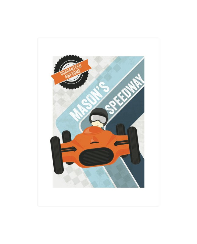 """Retro Speedway"" - Children's Custom Art Print by Jennifer Morehead in beautiful frame options and a variety of sizes."